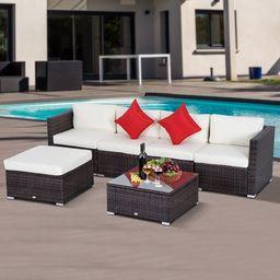 Barnett Wicker/Rattan 376 - Person Seating Group with Cushions   Wayfair North America