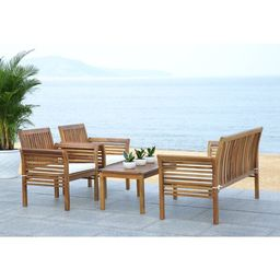 Glynn Solid Wood 4 - Person Seating Group with Cushions   Wayfair North America