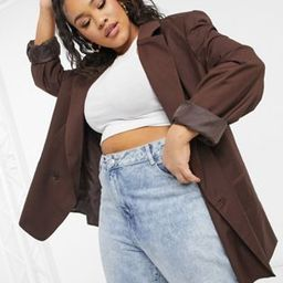 COLLUSION Plus oversized double breasted dad blazer in chocolate brown | ASOS (Global)