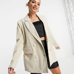 4th & Reckless oversized cord blazer in cream | ASOS (Global)