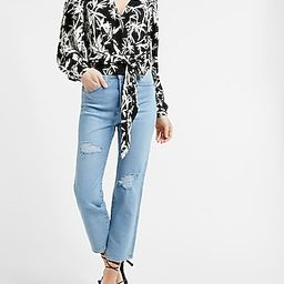 Tropical Print Wrap Front Balloon Sleeve Tie Top | Express