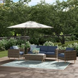 Cassidy Wicker/Rattan 5 - Person Seating Group with Cushions   Wayfair North America
