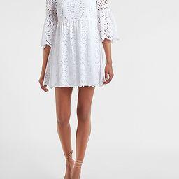 Eyelet Lace Flare Sleeve Dress   Express