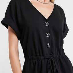Soft Button Front Tie Waist Lounge Jumpsuit   Express
