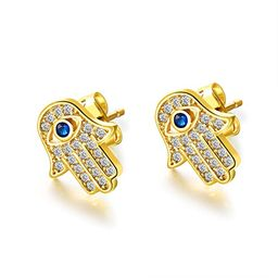 Yellow Gold/White Gold Plated Evil Eye and Hamsa Hand of Fatima White Blue Cubic zircon crystal S... | Amazon (US)
