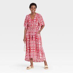 Women's Floral Print 3/4 Sleeve Dress - Knox Rose™ Red | Target