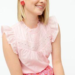 Sleeveless embroidered ruffle-sleeve top | J.Crew Factory