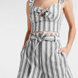 Striped Linen-Blend Cropped Tie Front Cami   Express