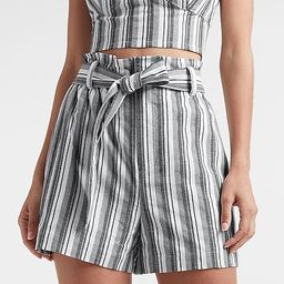 High Waisted Belted Striped Shorts   Express