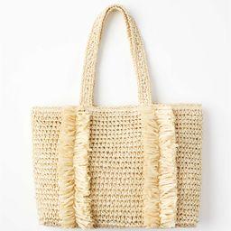 Fringed Straw Tote Bag   LOFT   LOFT