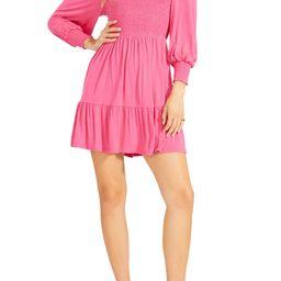 Let's Go Smock Bodice Long Sleeve Minidress   Nordstrom