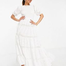 ASOS DESIGN shirred mixed broderie tiered maxi dress with lace inserts in white | ASOS (Global)