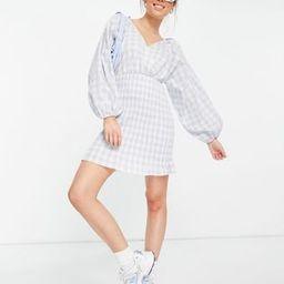 ASOS DESIGN shirred skirt mini wrap front dress in blue gingham | ASOS (Global)