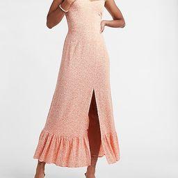 Printed Ruffle Strap Smocked Back Maxi Dress   Express