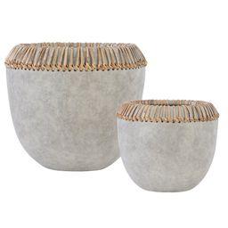 Adne 2 Piece Earthenware/Rattan Decorative Bowl Set | Wayfair North America