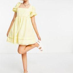 ASOS DESIGN cotton square neck mini smock dress with open tie back in lemon yellow | ASOS (Global)