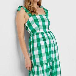 Stradivarius bunny strap full length dress in green check | ASOS (Global)