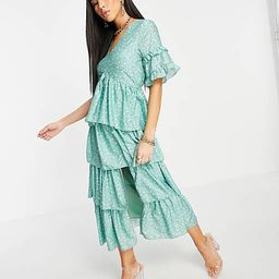 In The Style x Stacey Solomon tiered ruffle midi dress in green floral print | ASOS (Global)
