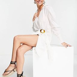 River Island buckle front mini shirt beach dress in white | ASOS (Global)