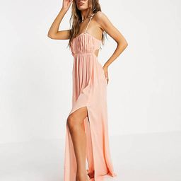 ASOS DESIGN bustier beach maxi beach dress in washed coral | ASOS (Global)