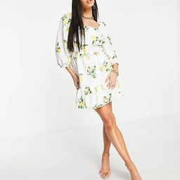 In The Style x Stacey Solomon puff sleeve ruched mini smock dress in summer lemon print | ASOS (Global)