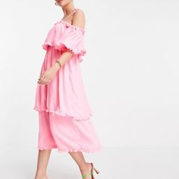 River Island ruffle tiered maxi slip dress in pink | ASOS (Global)