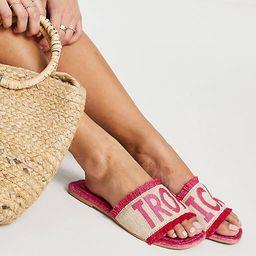 ASOS DESIGN Jelly slogan espadrille mules in bright pink | ASOS (Global)