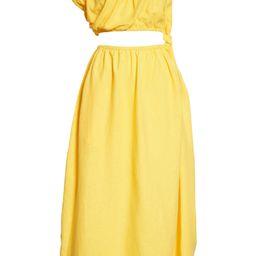 One-Shoulder Waist Cutout Linen Blend Dress | Nordstrom