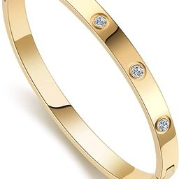 Love Friendship Bracelet Bangle Gold Rose Gold Silver with Cubic Zirconia Stones Stainless Steel ... | Amazon (US)