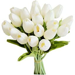 Mandy's 20pcs White Artificial Latex Tulips for Party Home Wedding Decoration | Amazon (US)