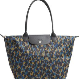 Le Pliage Large Panther Print Nylon Tote | Nordstrom