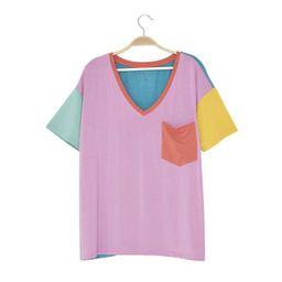 Women's Relaxed Fit V-Neck Melon Color Block LE Collection   Kyte BABY