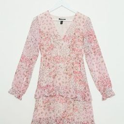 New Look chiffon tiered mini dress in pink ditsy floral print   ASOS (Global)