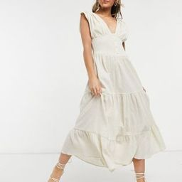 ASOS DESIGN shirred waist button front tiered midi sundress in crinkle in oatmeal   ASOS (Global)