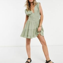 ASOS DESIGN shirred waist button front tiered mini sundress in crinkle in khaki   ASOS (Global)