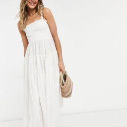 ASOS DESIGN cami midi sundress with raw edges in white   ASOS (Global)
