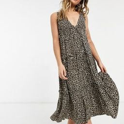 ASOS DESIGN button front tiered midi sundress in leopard print   ASOS (Global)