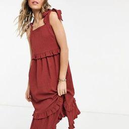 ASOS DESIGN textured ruffle swing midi sundress with tie straps in rust   ASOS (Global)