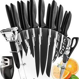 Home Hero 17 Pieces Kitchen Knives Set, 13 Stainless Steel Knives + Acrylic Stand, Scissors, Peel...   Amazon (US)