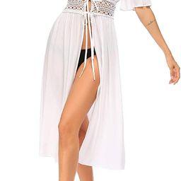 Ekouaer Women's Swimwear Cover Ups Sexy Open Front Beach Bikini Swimsuit Kimono Cardigan Long Flo... | Amazon (US)
