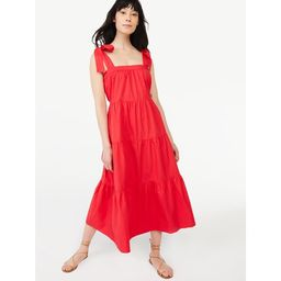 Free Assembly Women's Tie Shoulder Tiered Maxi Dress | Walmart (US)