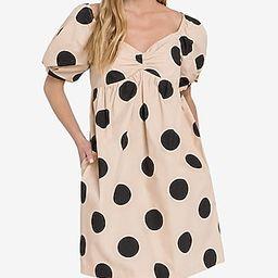 English Factory Puff Sleeve Polka Dot Mini Dress Neutral Women's XS | Express