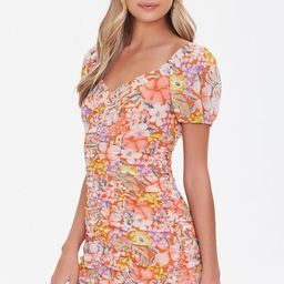 Floral Print Ruched Mini Dress   Forever 21 (US)