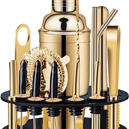 X-cosrack 18-Piece Bar Set,Gold Cocktail Shaker Set for Drink Mixing:Stainless Steel Bar Tools wi... | Amazon (US)