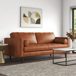 "Apgar 88.5"" Genuine Leather Square Arm Sofa   Wayfair North America"
