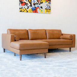 "Matilda 101"" Wide Genuine Leather Sofa & Chaise   Wayfair North America"