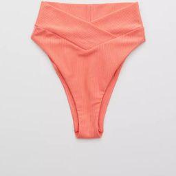 Aerie Ribbed Shine Crossover High Cut Cheeky Bikini Bottom | American Eagle Outfitters (US & CA)
