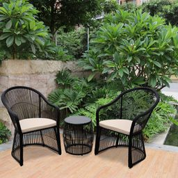 Lustig Wicker/Rattan 2 - Person Seating Group with Cushions | Wayfair North America