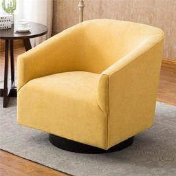 Geneva Goldenrod Yellow Fabric Wood Base Swivel Chair   Walmart (US)