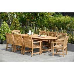 Tottenville 9-piece Teak Double Extendable Dining Set by Havenside Home | Overstock